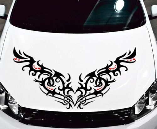 TRIBAL HEARTS DECAL VINYL GRAPHIC HOOD CAR TRUCK