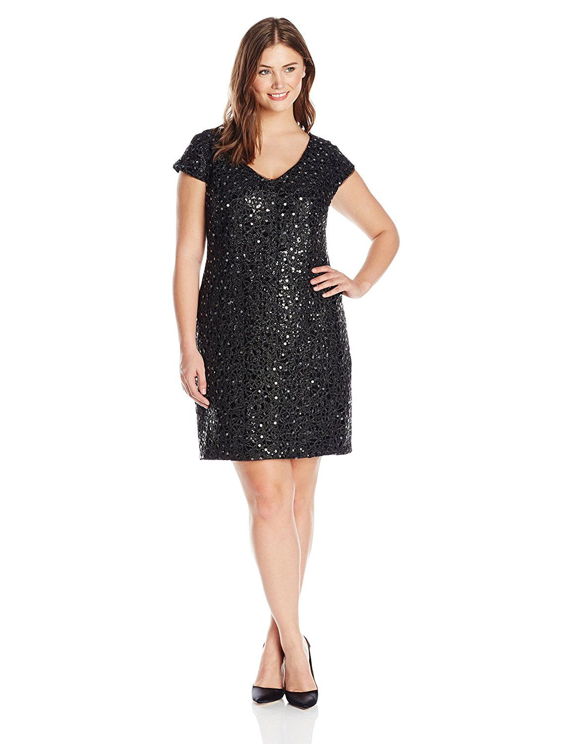 90922bac585 Amazon.com  Adrianna Papell Women s Plus-Size Cap Sleeve V-Neck Lace ...