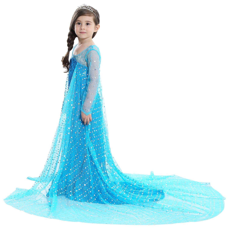 Baby Kid Child Girls Disney Princess Elsa Long Sleeve Party Fancy Dress 2-6 yr