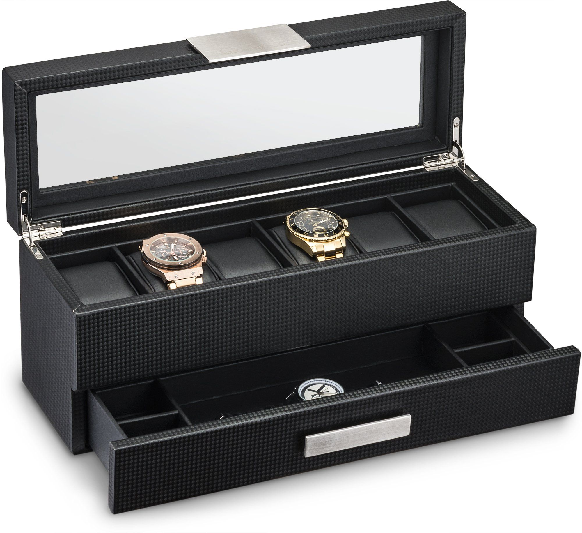 Watch Box with Valet Drawer for Men - 6 Slot Luxury Watch Case Display Organizer Carbon Fiber Design for Mens Jewelry Watches The Menu0027s Storage Boxes ...  sc 1 st  Pinterest & Watch Box with Valet Drawer for Men - 6 Slot Luxury Watch Case ...