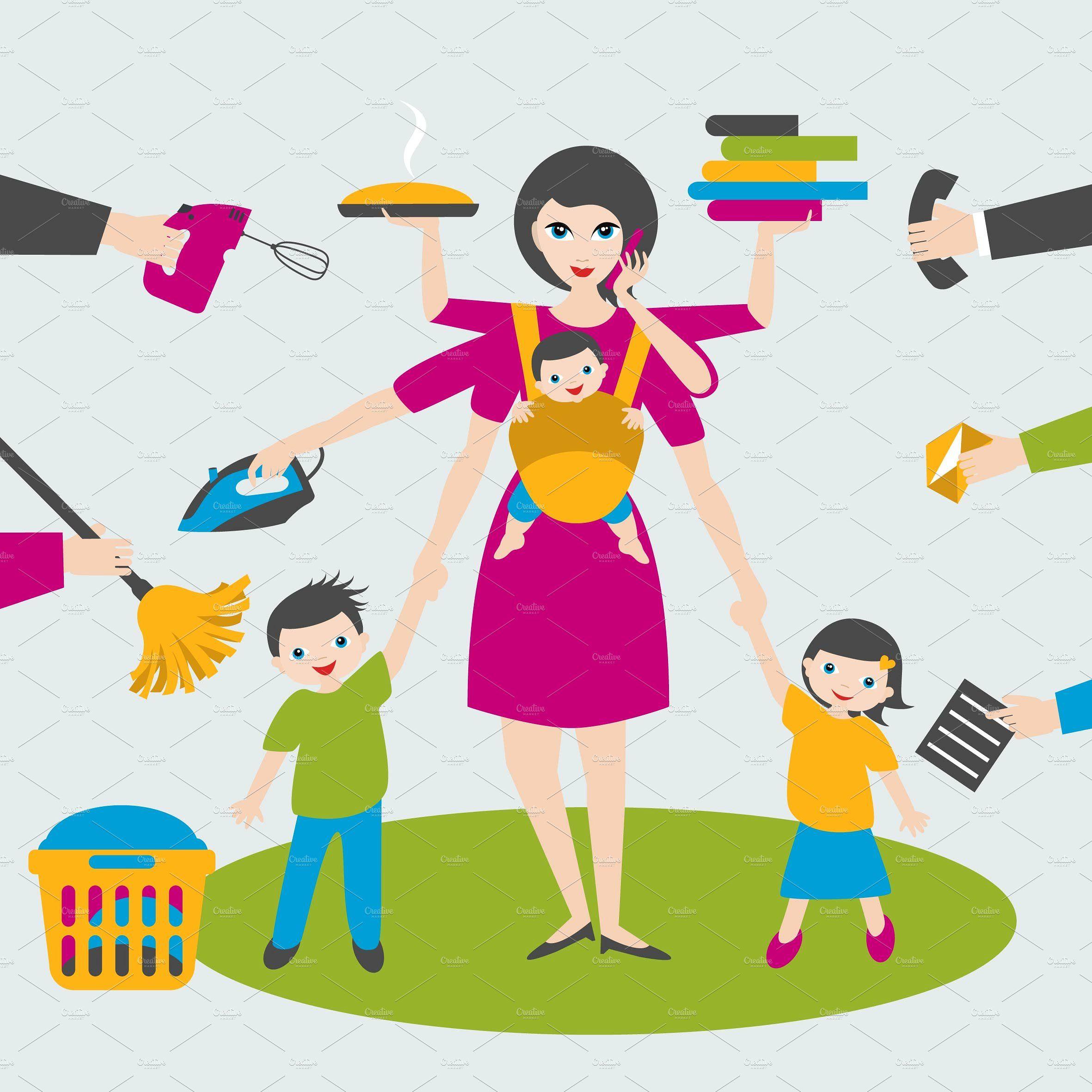 Multitask woman.   Children vector, Happy woman day, Multi tasking