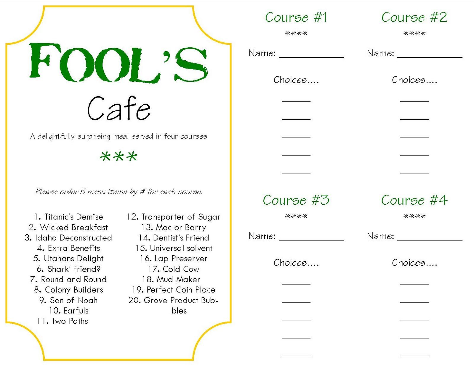 Marvelous Mystery Dinner Party Menu Ideas Part - 4: Mystery Dinner Menu With Answers | Foolu0027s Cafe U2013 A Surprise Dinner Tradition