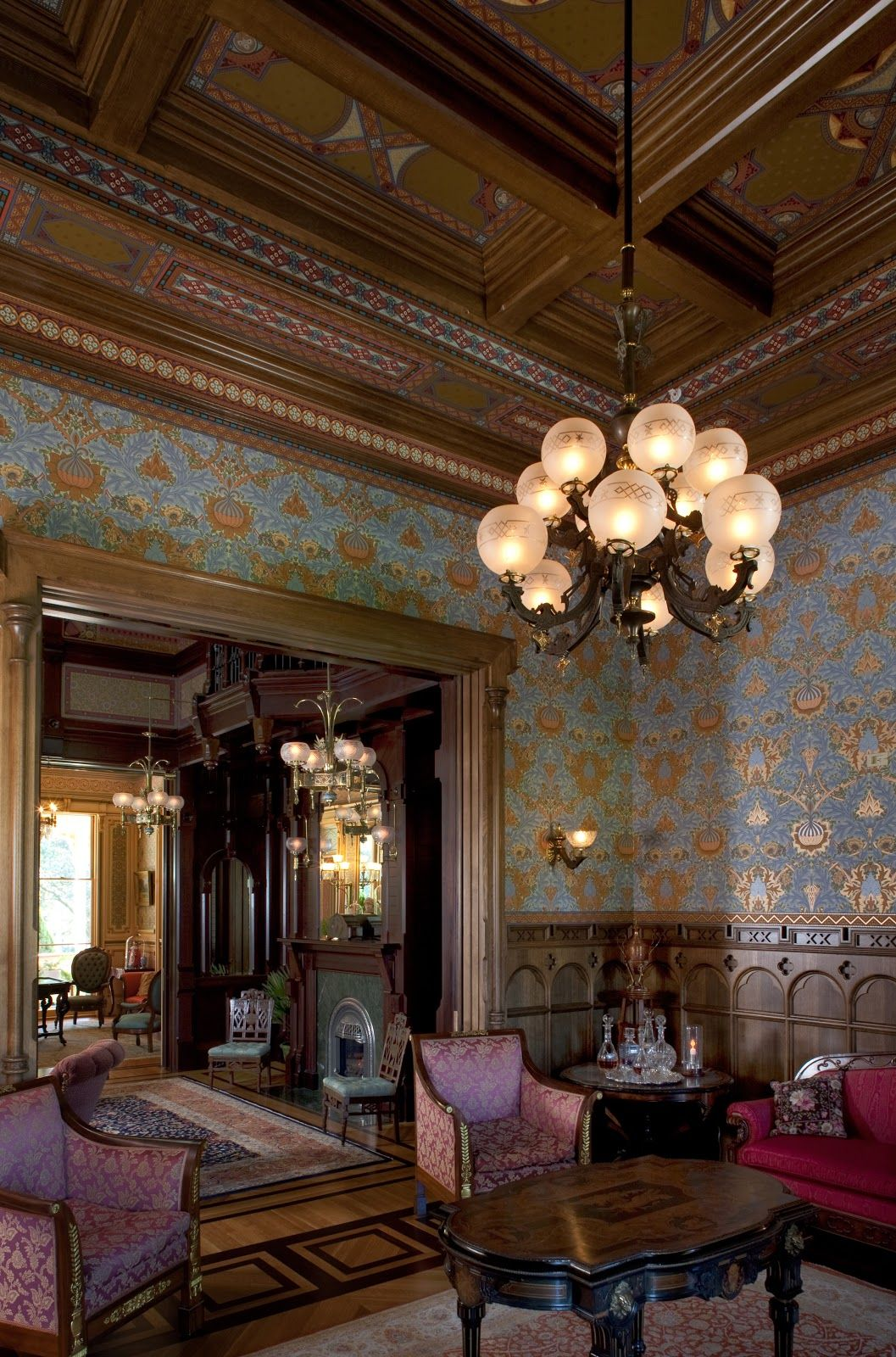 The Gentlemen's Parlor of the McDonald Mansion, Oakland CA, built 1879.  I adore the wallpaper, and the molding and design of the ceiling are fabulous.