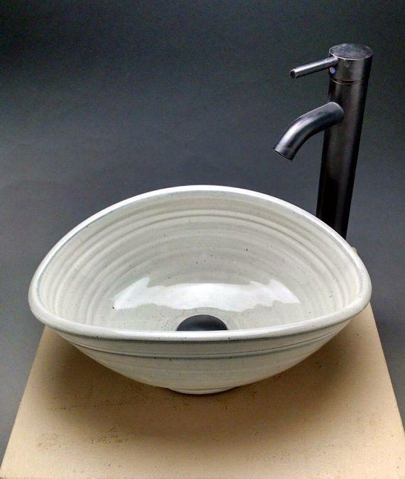 Custom Handmade Pottery Oval Vessel Sink By Jeff Brown Pottery Sink Stone Vessel Sinks Small Bathroom Tiles