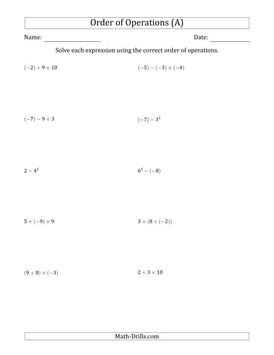 The Order Of Operations With Negative And Positive Integers Two Steps A Math Worksheet From The Or Integer Operations Order Of Operations Negative Integers