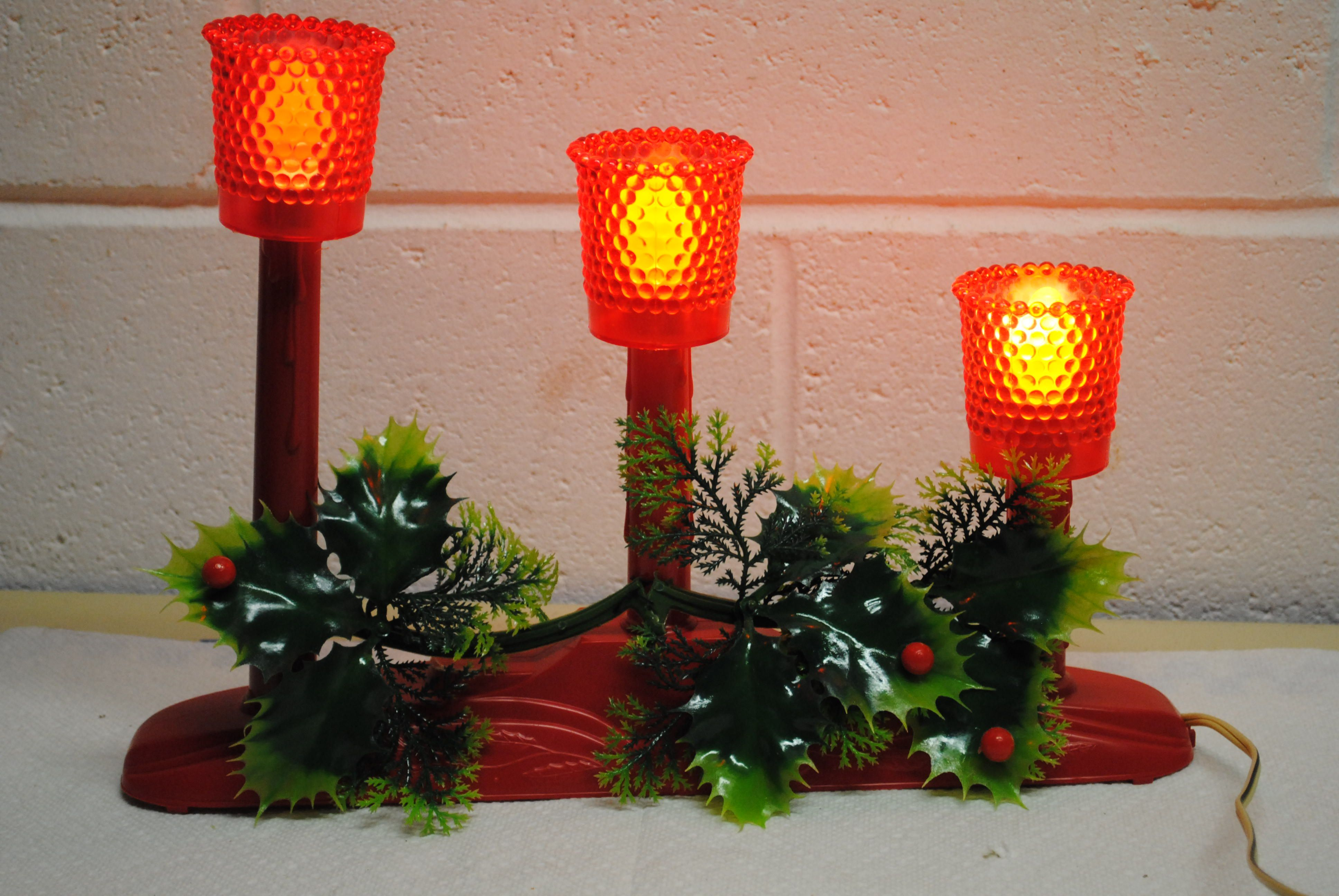 the warm glow of christmas vintage christmas candelabra red