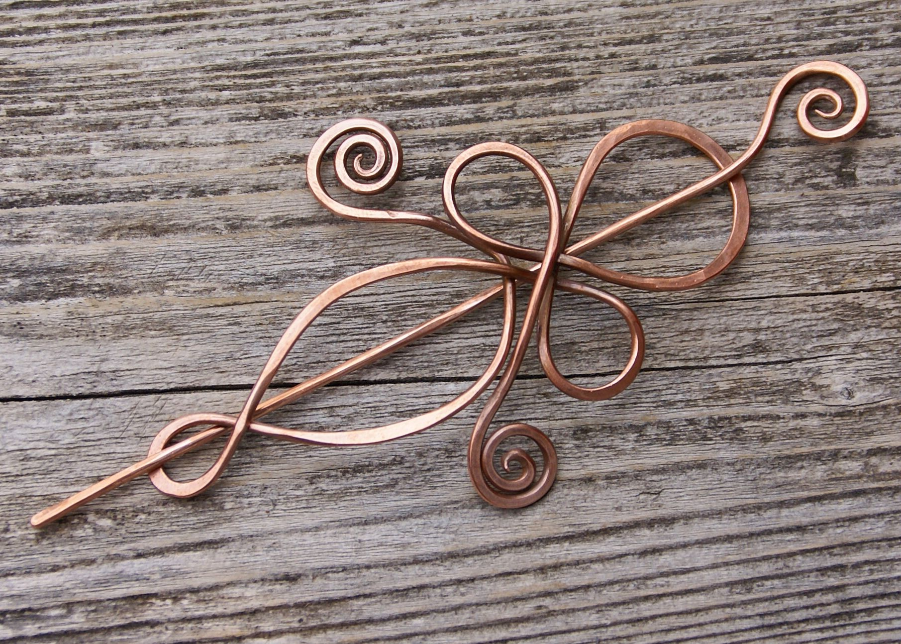 Hand wrought copper shawl pin by Diana Stein  www.beachcombergal.etsy.com
