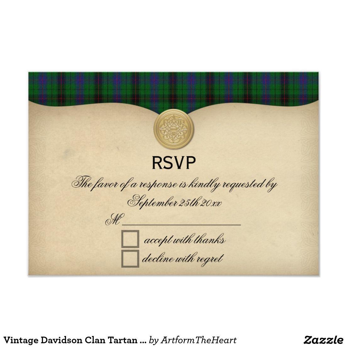 Scottish tartan wedding dress  Vintage Davidson Clan Tartan Plaid Wedding RSVP  TARTAN WEDDING