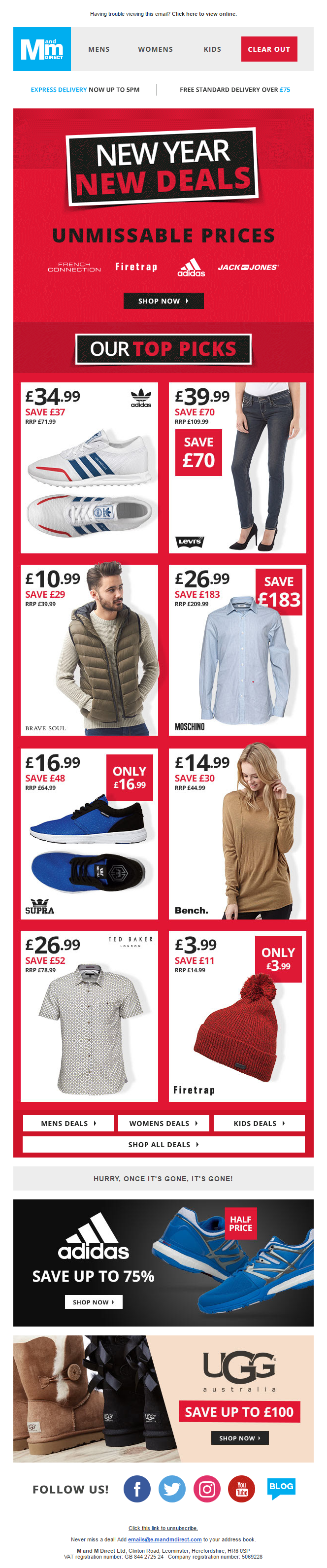 first look new arrive classic styles M&M Direct New Year Deals Email #EmailMarketing #Email ...