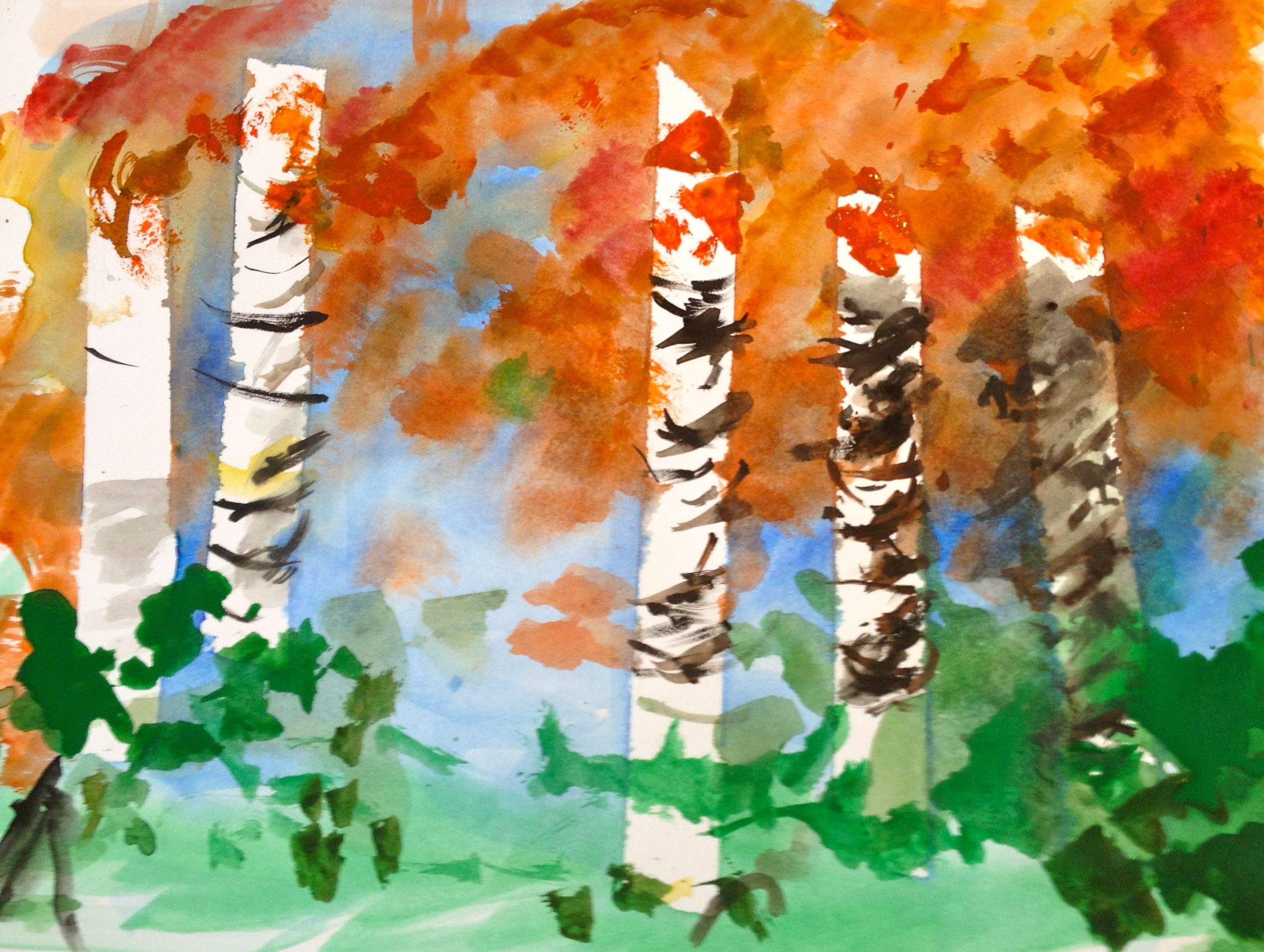 Senior Watercolor Art Class Birch Trees With Masking Tape Resist