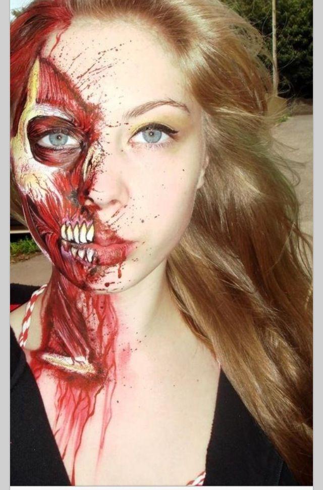 Half Bloody Makeup   Makeup❤   Pinterest   Halloween face ...