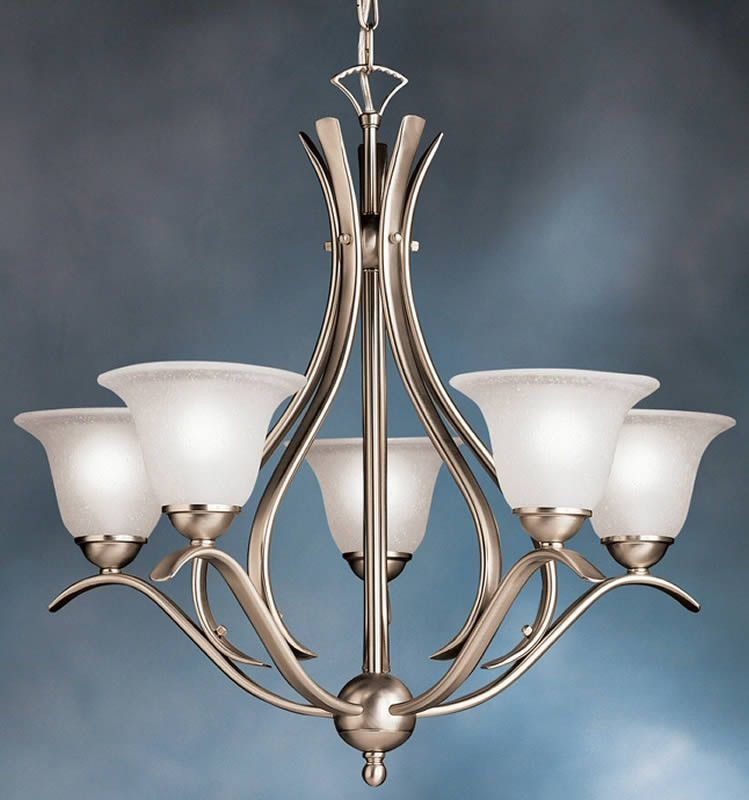 24 inchw dover 5 light chandelier brushed nickel