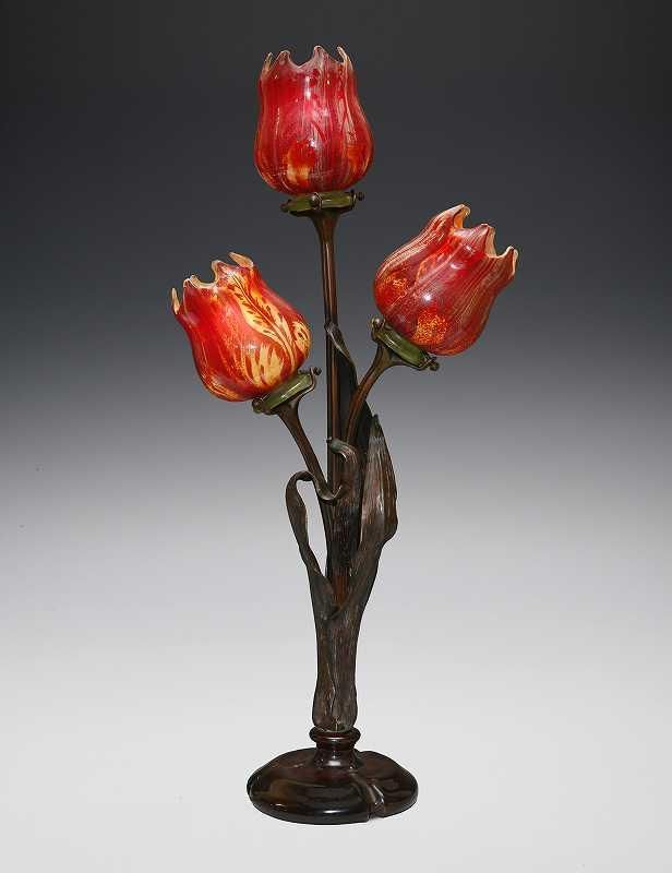 Emile Gallé, Nancy, (1846-1904), Blown, Internal Inclusions and Engraved Glass Lamp Shades with Bronze Base.
