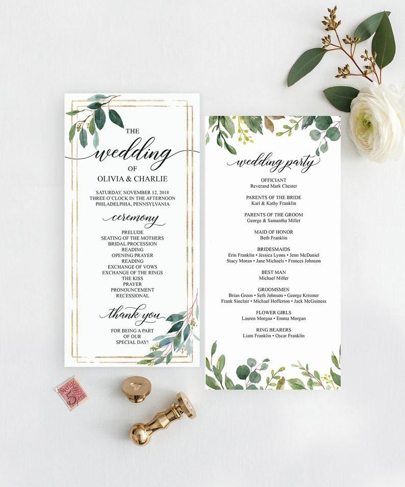 Greenery Wedding Programs Template 4x8 Wedding Program Etsy In 2021 Wedding Programs Template Printable Wedding Programs Wedding Invitations