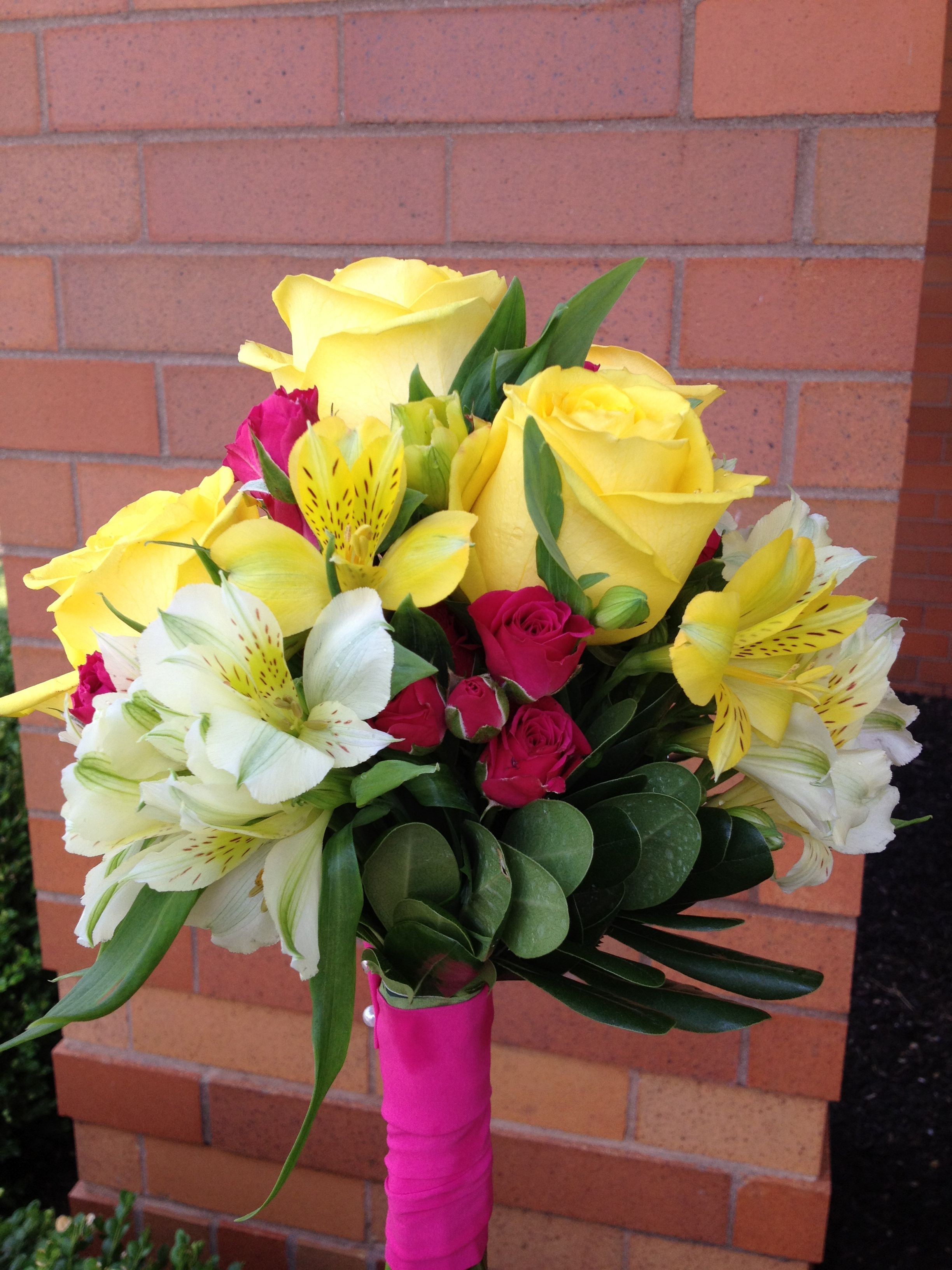 Hot Pink Bright Yellow And White Wedding Flowers Weddings And