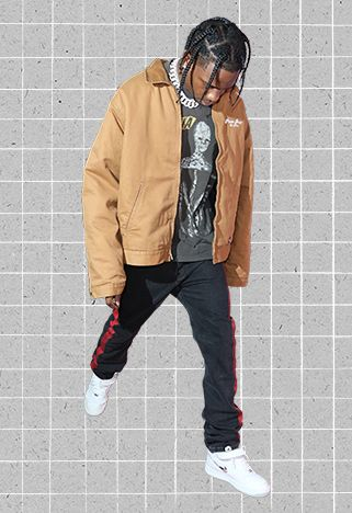 81ed5011ba2a ASOS Outfit Of The Month #21 Travis Scott Wearing A Brown Workwear Jacket,  Band Tee, Balenciaga Side Stripe Jeans And Nike Air Force Trainers.