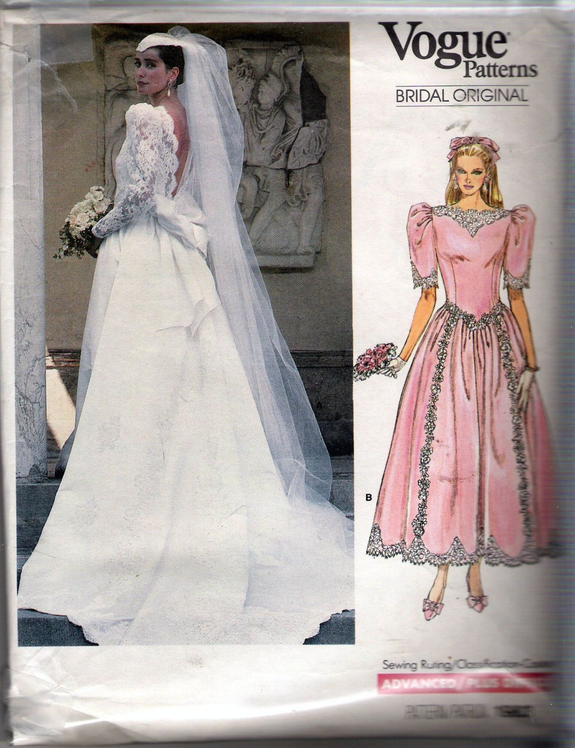 Vintage 1987 vogue 1983 vogue bridal original bridal gown and vintage 1987 vogue 1983 vogue bridal original bridal gown and bridesmaid dress sewing pattern size 16 ombrellifo Images