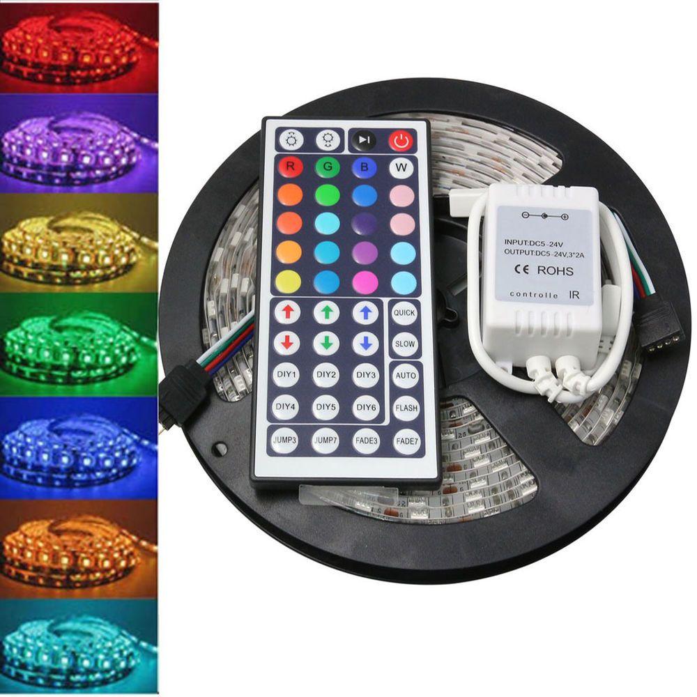 5m 5050 Rgb Smd Led Waterproof Flexible Strip 300 Leds 44 Key Ir Remote In 2020 Led Room Lighting Led Lighting Bedroom Led Strip Lighting