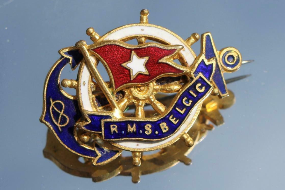 White Star Line Rms Belgic Bought Onboard Barbers Shop Fine Quality Badge 1920 S Stuff To Buy Fine Quality Badge