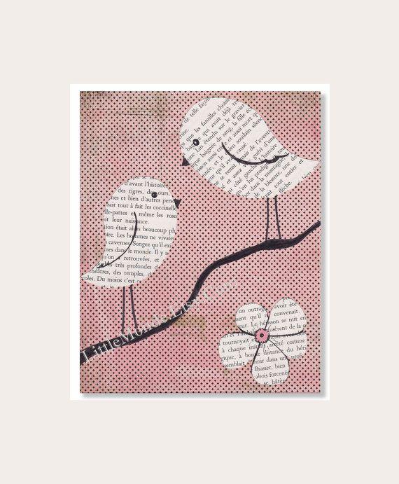 NURSERY ART PRINTS, Baby Girl Nursery Prints, Retro Nursery Prints, Vintage French Book, Decoupage, Pastel Nursery Art, Soft Pink
