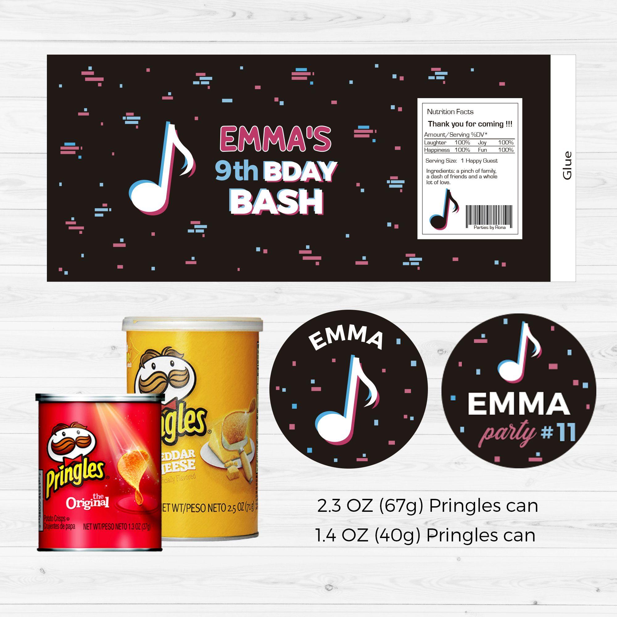 Tiktok Inspired Pringles Label Tiktok Digital Printable Pringles Wrapper Birthday Decor Tiktok Party Supplies Tiktok Party Ideas En 2021