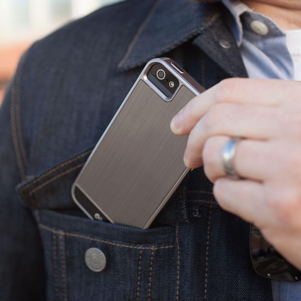 Brushed Aluminum Case in Gunmetal & Black #iPhoneSE