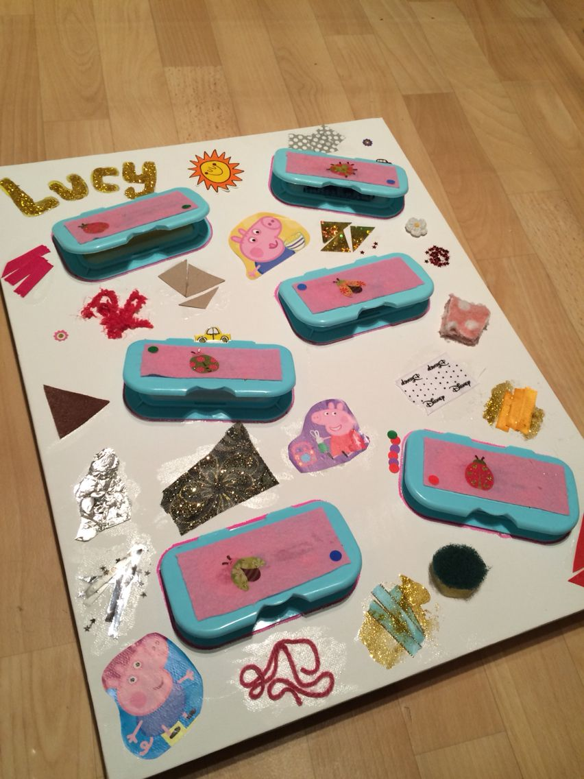 Homemade sensory board I made this using a canvas and the