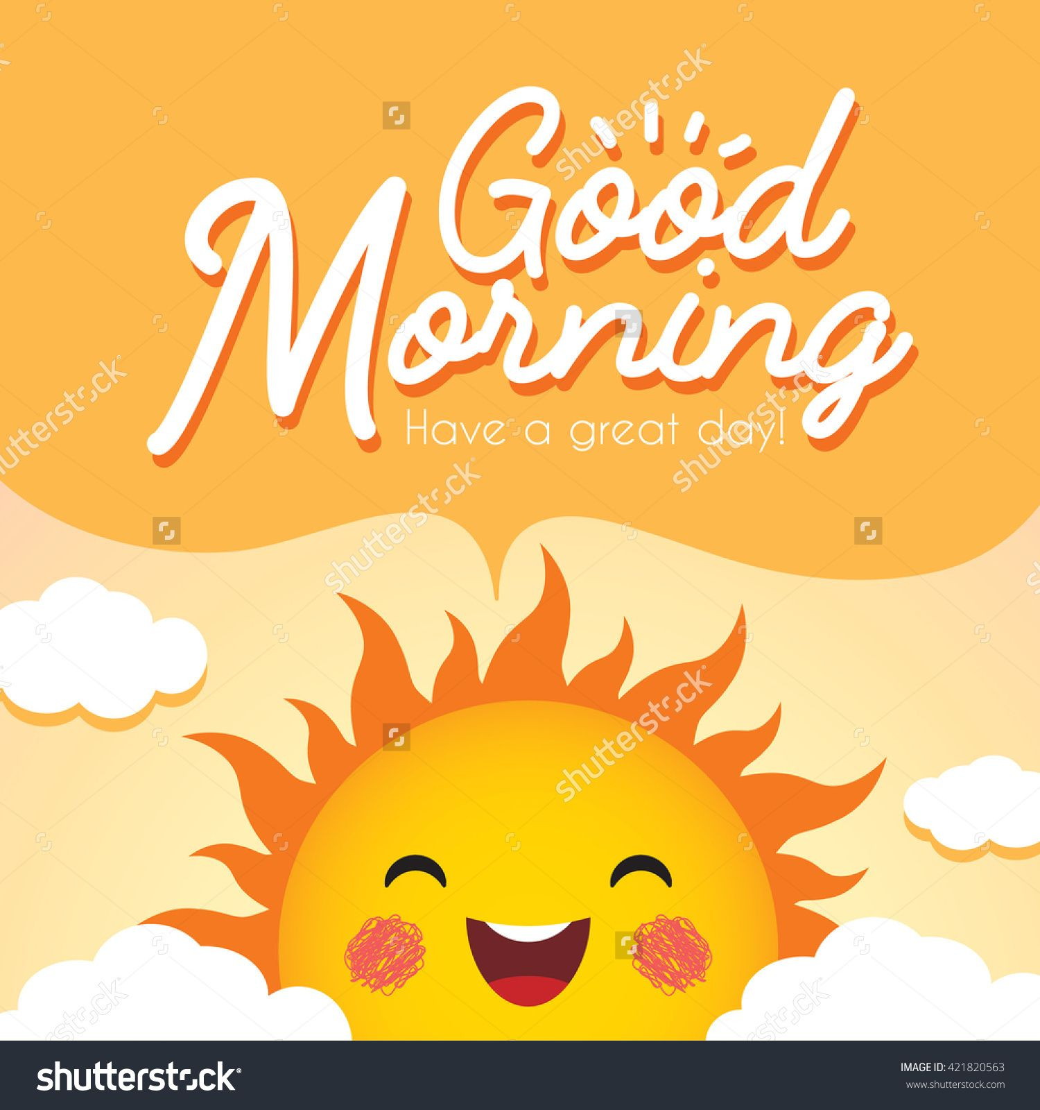Good Morning Morning Vector Illustration With Cute Smiling Cartoon
