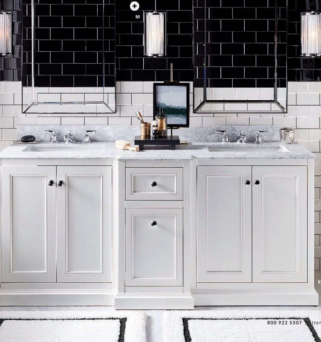 Ultimate Double Sink Bath Collection Benchwright Collection Fixtures In Polished Nickel Astor Mirrors Danlyn Bath Lighting Mor Bath Rugs Double Sink Vanity [ 1418 x 1332 Pixel ]
