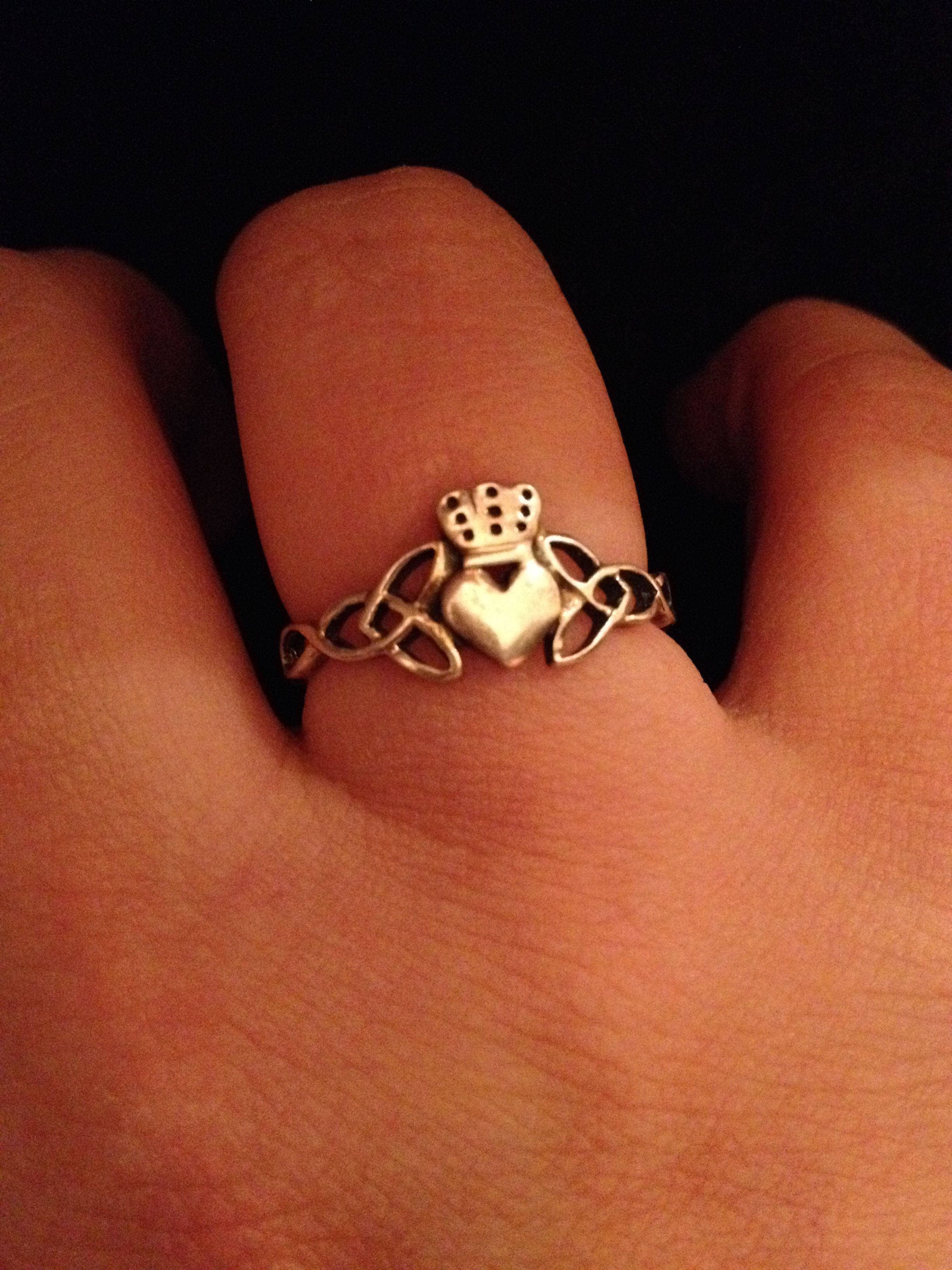 My beautiful Claddagh ring. Sterling Sivler. Representing