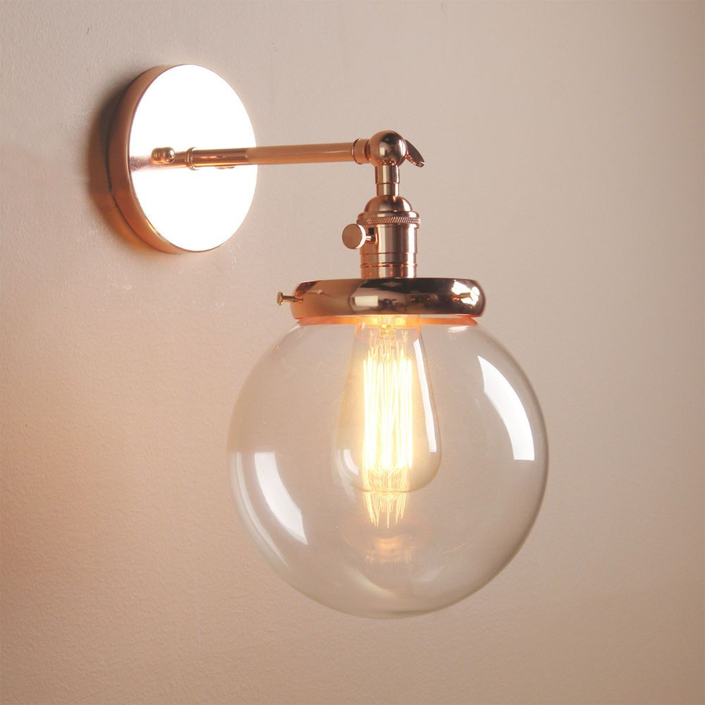 Lighting Wall Lights Vintage Industrial Wall Lamp Antique Sconce Globe Glass Shade Loft
