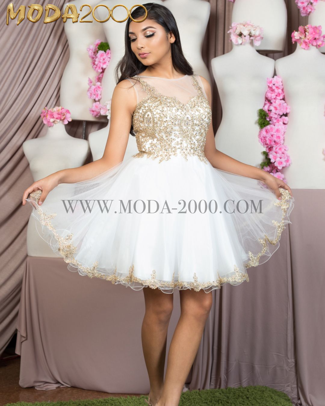 Elegant Cocktail Dress In Ivory Gold Dama Dresses For