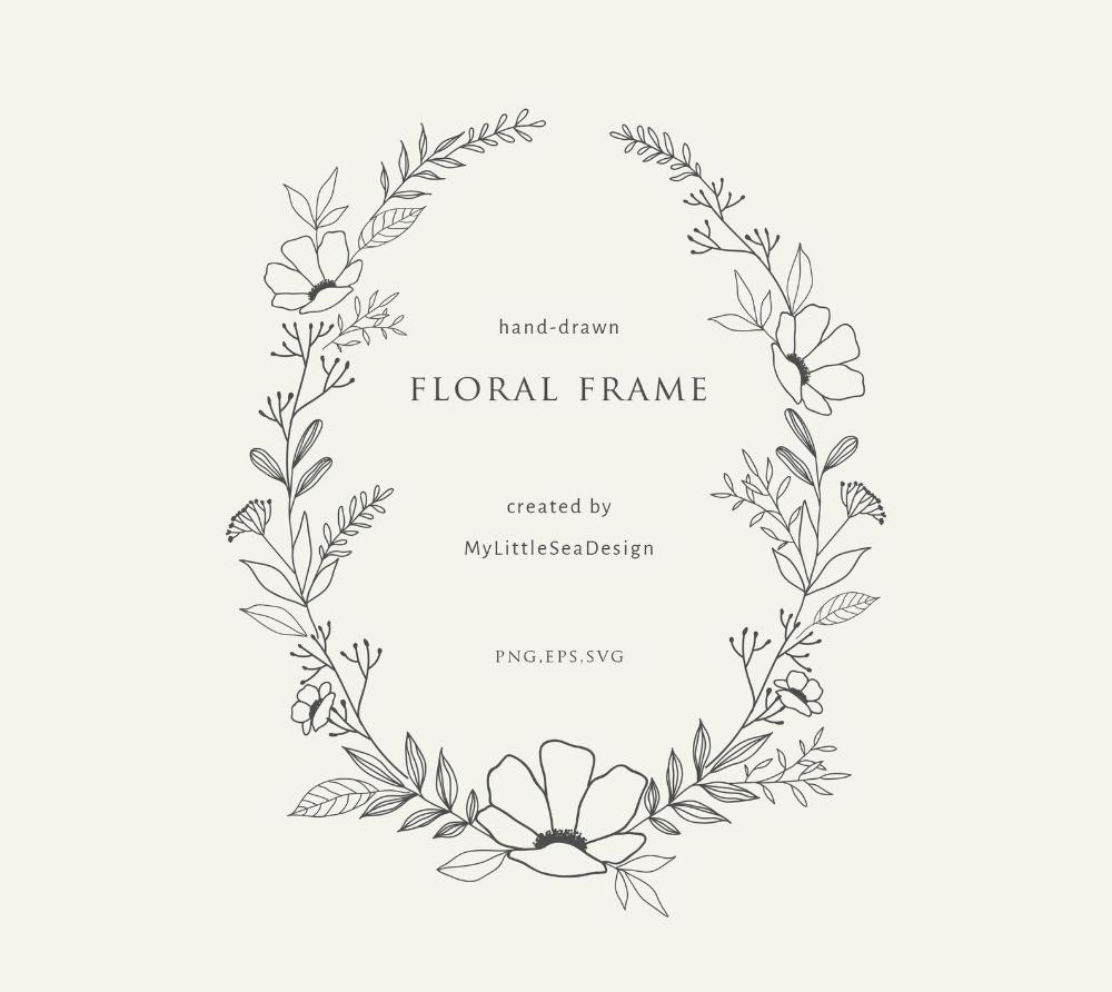 Photo of Botanical oval wreath on transparent background | Hand drawn floral frame | Ink line illustration | Clipart for wedding invitation SVG PNG