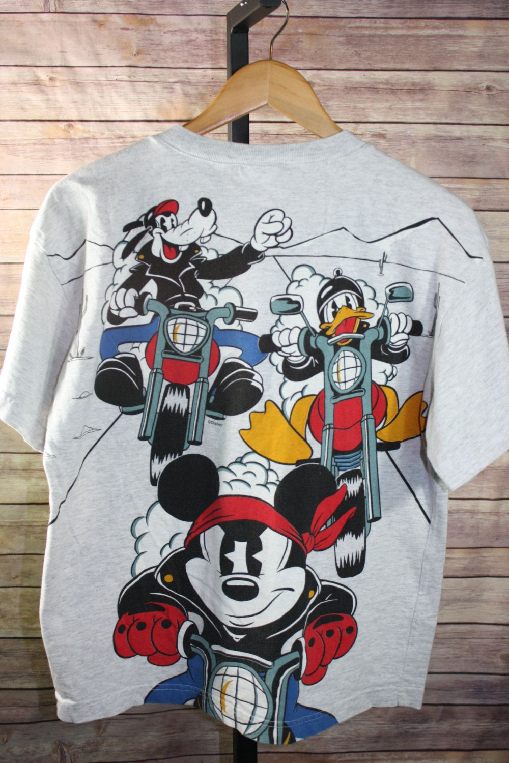 88e5e732f4a Vintage Disney Mickey Mouse And Co. Motorcycle T-Shirt Youth XL Gray 1 4  Button Cotton Goofy Daffy Duck Mickey by JuliaJaneVintage on Etsy