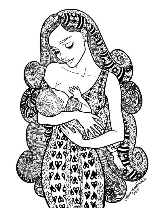 providence coloring page motherhood series zentangle method line art decorative doodle illustration breastfeeding nursing mother