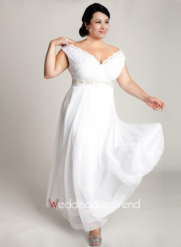 Beautiful Simple Off The Shoulder Chiffon Plus Size Wedding Dress The Best Wedding Casual Wedding Dress Wedding Dress Casual Outdoor Plus Size Wedding Gowns