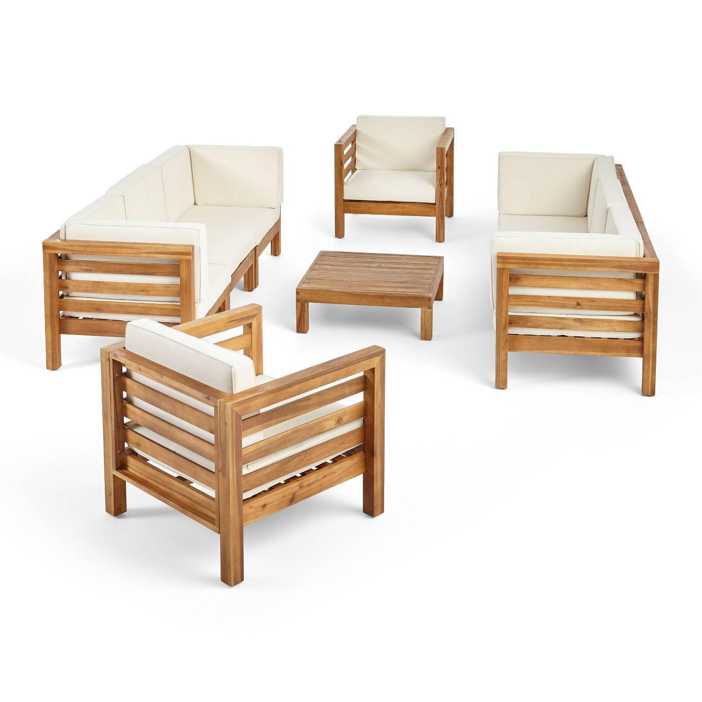 Oana 9pc Acacia Wood Sofa Club Chair Set Teak Beige Christopher Knight Home Wood Sofa Patio Furniture Deals Buy Outdoor Furniture