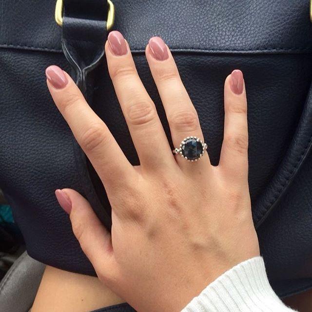 All pretty mauve nails black halo diamond ring
