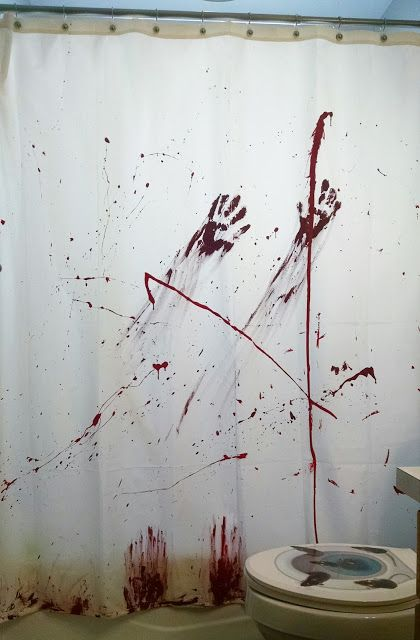 DIY Halloween Bloody Shower Curtain
