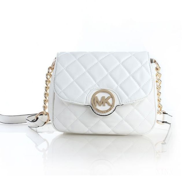 2e18a2dbed6d Michael Kors Fulton Quilted Leather Small White Crossbody Bags ...