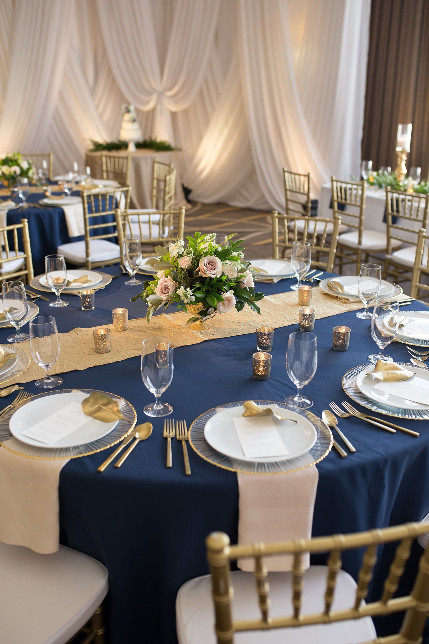 Obsessed with this navy and gold wedding theme! We are ...