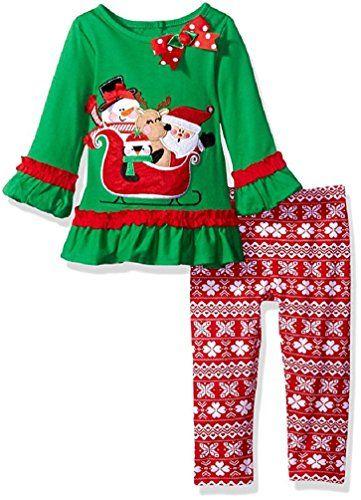 Rare Editions Baby Girls Santa Tunic and Legging Set (12 Months) - Rare Editions Baby Girls Santa Tunic And Legging Set (12 Months