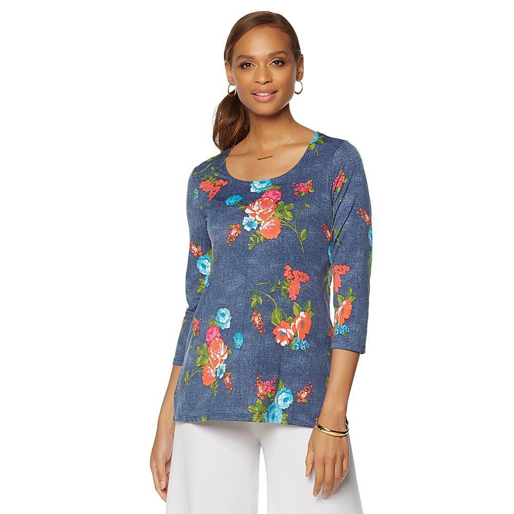 Slinky® Brand 3/4-Sleeve Printed Tunic - Denim Floral