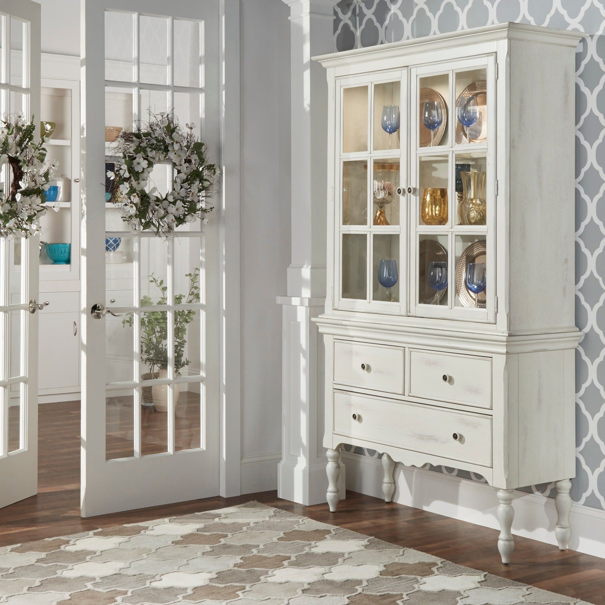 McKay Country Antique White Display Buffet Storage China Cabinet by iNSPIRE  Q Classic by iNSPIRE Q