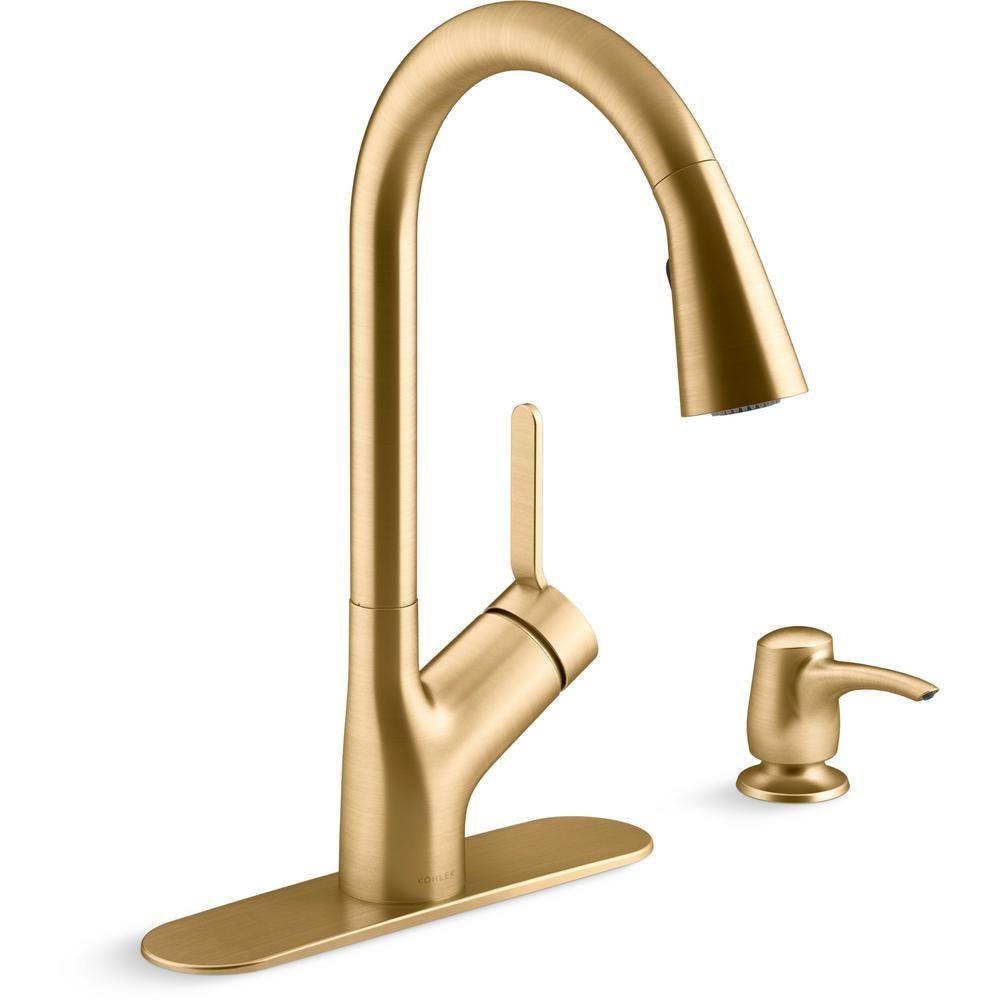 Kohler Setra Single Handle Pull Down Sprayer Kitchen Faucet In Vibrant Brushed Moderne Brass In 2021 Kitchen Faucet Gold Kitchen Faucet Brass Kitchen Faucet