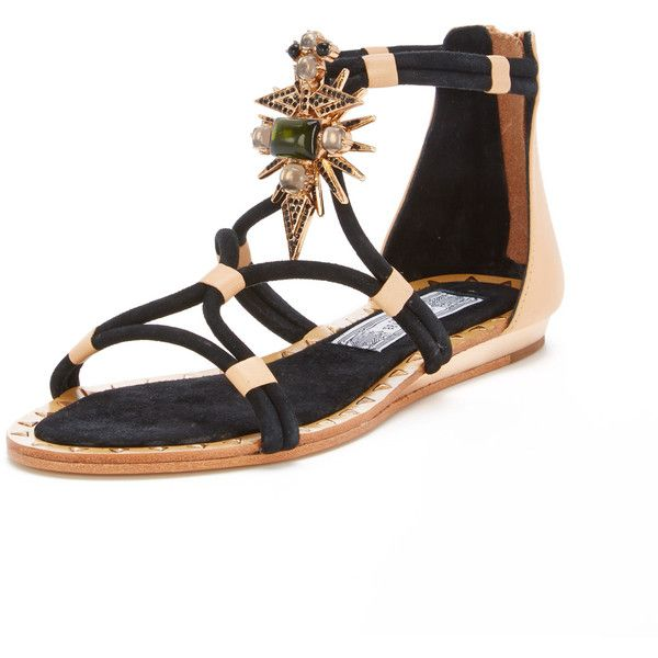 Ivy Kirzhner Basil Flat Sandal ($169) found on Polyvore featuring shoes, sandals, black, mini wedge sandal, black wedge heel sandals, black beaded sandals, black flat shoes and beaded wedge sandals