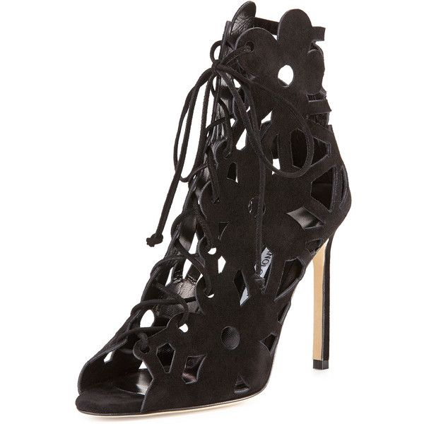Manolo Blahnik Black 'Kahikalo' Caged Suede Bootie €965 Fall 2014 #Manolos #Shoes #Heels