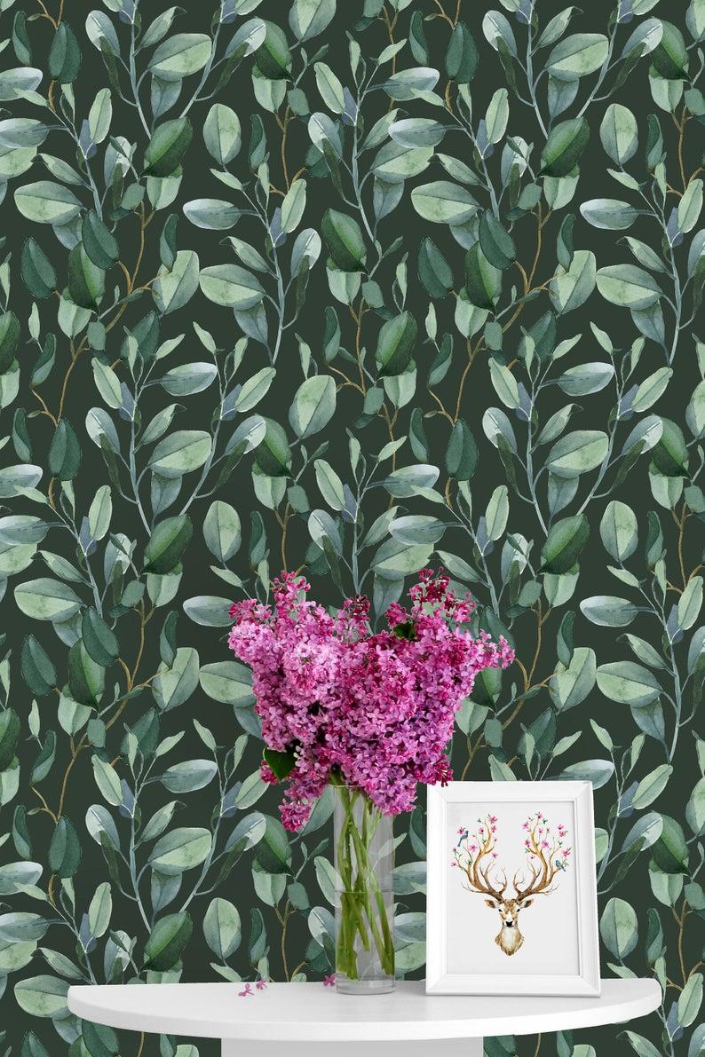 Eucalyptus Leaves Removable Wallpaper Peel Stick Mural Etsy Nursery Wallpaper Removable Wallpaper Mural Wallpaper