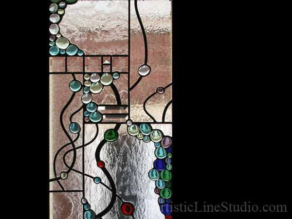 Abstract Style Stained Beveled And Leaded Gl Free Shape Suspended Panels With Nuggets