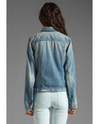 37e004c73af Back view of pearl yoke. Sew with Threadhead TV. ~7 for all mankind Denim  Jacket with Pearls in Light Destroyed in Blue